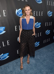 Keltie Knight chose classic black ankle-strap sandals to finish off her outfit.