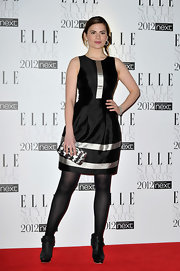 Hayley Atwell wore a crisp black and silver cocktail dress for the Elle Style Awards.