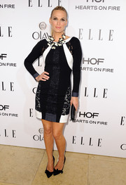 Molly Sims went to the Elle Women in Television celebration wearing a multitextured tricolor cocktail dress by Diane von Furstenberg.