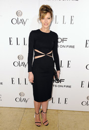 Robbie Myers looked subtly sexy at the Elle Women in Television celebration in a Cushnie et Ochs LBD with an X-shaped cutout.
