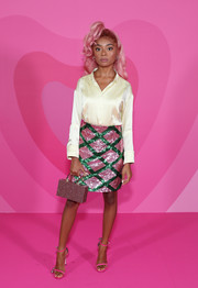 Skai Jackson sealed off her stylish look with pink slim-strap sandals.