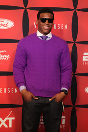 Cam Newton, purple couldn't be any more your color than it already is! A preppy athlete with an edge is always in style.