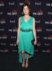 Aleksa Palladino looked sassy at the premiere of 'The East' in a bright green fishtail dress.