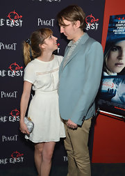 Zoe Kazan wore a demure little white dress with lace panels to the premiere of 'The East.'