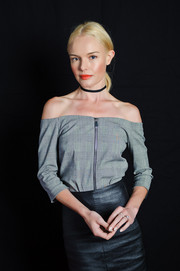 Kate Bosworth's gray off-the-shoulder top and black leather skirt at the 2016 Ebertfest were a very chic pairing!