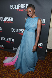Danai Gurira looked celestial in a draped blue Schiaparelli Couture gown with a hot-pink and gray train at the Broadway opening of 'Eclipsed.'