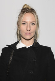 Mickey Sumner swept her hair up into a messy-chic knot for the Edun fashion show.