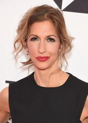 Alysia Reiner wore her hair in a messy updo at the 2018 Tribeca Film Festival screening of 'Egg.'