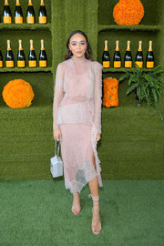 Ashley Madekwe cut an ultra-sophisticated figure in a blush-colored cocktail dress by 3.1 Phillip Lim at the Veuve Clicquot Polo Classic.