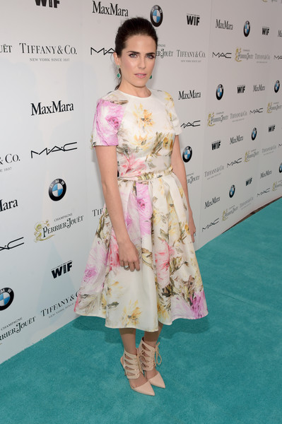 Karla Souza was spring-chic in a fit-and-flare floral dress during the Women in Film pre-Oscar cocktail party.
