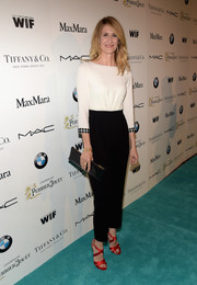 Laura Dern's red satin crisscross-strap sandals popped beautifully against her black-and-white outfit.