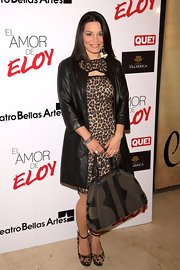 Ainhoa wore this leather coat over her leopard-print frock for a totally edgy look.