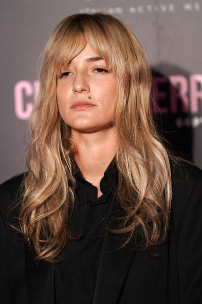 Eleonora Carisi Long Wavy Cut with Bangs [hair,hairstyle,face,blond,long hair,layered hair,bangs,brown hair,chin,hair coloring,chiara ferragni - unposted premiere,eleonora carisi,chiara ferragni - unposted,premiere,milan,italy]