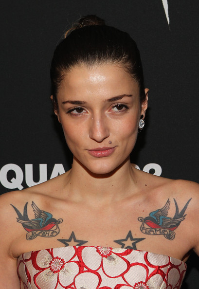 Eleonora Carisi Classic Bun [behind the mirror,hair,tattoo,shoulder,eyebrow,hairstyle,beauty,chest,forehead,arm,joint,spring summer 2013,eleonora carisi,copacabana,new york city,dsquared2,interview magazine,interview magazine premiere screening of ``behind the mirror,spring summer 2013 campaign]