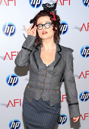 Helena looks crazy cute in this tailored blazer and cooky glasses.
