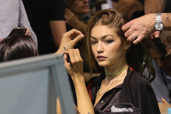 More Pics of Gigi Hadid Layered Gold Necklace (3 of 4) - Layered Necklaces Lookbook - StyleBistro [hair,beauty,hairstyle,hairdresser,fashion,blond,fashion design,event,long hair,model,gigi hadid,part,paris,france,elie saab,paris fashion week womenswear spring,backstage - paris fashion week womenswear spring]