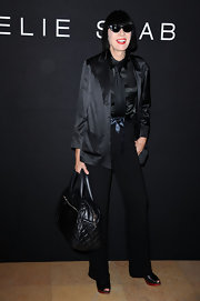 Chantal paired her all black ensemble with a coveted Cocoon bag.