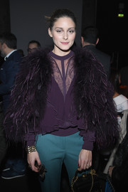 Olivia Palermo paired a purple ruffle and lace blouse with a fur jacket, both by Elie Saab, for the label's Spring 2018 Couture show.