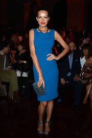 Petra Nemcova rocked an electric blue sleeveless sheath dress at the Elie Saab runway show.