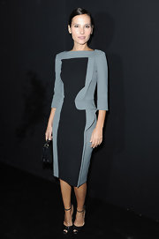 Verginie looked supremely sophisticated in this two-tone dress at the Elie Saab Spring 2013 show.