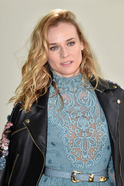 Diane Kruger was rocker-glam at the Elie Saab show wearing her hair in mussed-up waves.