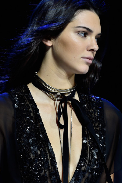 Kendall walked the runway for Elie Saab wearing multiple layers of silver necklace and ribbon.