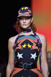Karlie Kloss looked cute wearing this matchy-matchy baseball cap and dress combo on the Elie Saab runway.
