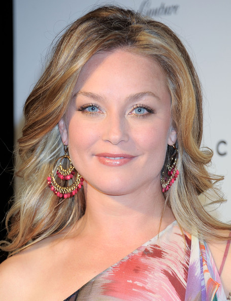 Elisabeth Rohm Gemstone Chandelier Earrings [hair,face,hairstyle,eyebrow,blond,chin,shoulder,beauty,lip,lady,elisabeth rohm,gilbert chagoury launches,chagoury couture north american,gilbert chagoury chagoury couture north american,california,los angeles,debut,launch]