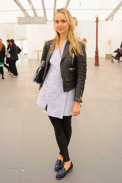 Elisabeth von Thurn und Taxis Leather Jacket [clothing,white,street fashion,fashion,outerwear,footwear,snapshot,jacket,blazer,jeans,bombay sapphire gin,elisabeth von thurn und taxis,cecconi,partnership,pop up,soho house,new york city,randalls island,frieze new york]