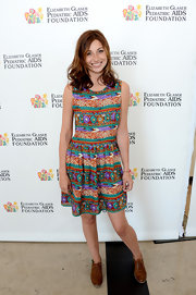 A multi-colored print dress gave Alyson Michalka a quirky look!