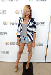 Tia Mowry's blue-and-white striped blazer looked totally nautical inspired.