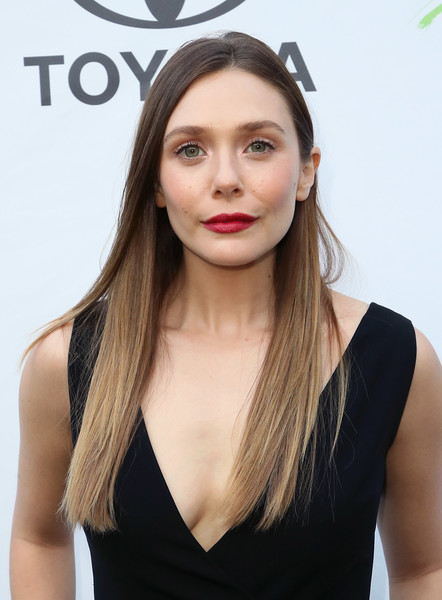 Elizabeth Olsen Red Lipstick [hair,face,hairstyle,eyebrow,beauty,lip,long hair,chin,blond,brown hair,arrivals,elizabeth olsen,residence,california,los angeles,1st annual environmental media association honors benefit gala]