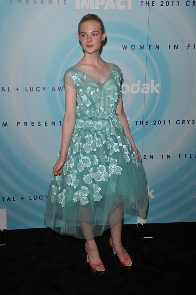 Elle Fanning Peep Toe Pumps [cocktail dress,dress,gown,fashion model,beauty,joint,shoulder,flooring,lady,fashion show,jewelry,elle fanning,2011 women in film crystal lucy awards,beverly hills,california,beverly hilton hotel,pandora jewelry sponsors the 2011 women in film crystal lucy awards,pandora]