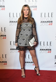 Abbey Clancy arrived at the 2015 Elle Style Awards in a cute slip dress with a lacy black overlay.