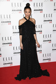 Thandie Newton made a stylish entrance in a dotted, cold-shoulder halter gown by Erdem at the 2017 Elle Style Awards.
