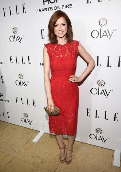 Ellie Kemper Cocktail Dress [annual women in television celebration,ellie kemper,hearts on fire,dress,clothing,cocktail dress,red,shoulder,hairstyle,fashion,fashion model,premiere,joint,sunset tower,west hollywood,california,elle,olay]
