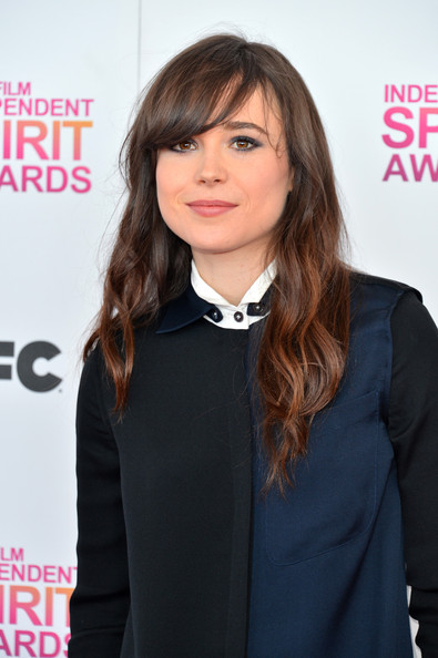 Elliot Page Long Wavy Cut with Bangs [hair,hairstyle,beauty,bangs,lip,long hair,hair coloring,forehead,brown hair,layered hair,arrivals,film independent spirit awards,elliot page,hair,hair,hairstyle,award,brown hair,celebrity,santa monica beach,linda cardellini,28th independent spirit awards,elliot page,photograph,actor,2013,award,celebrity,image]
