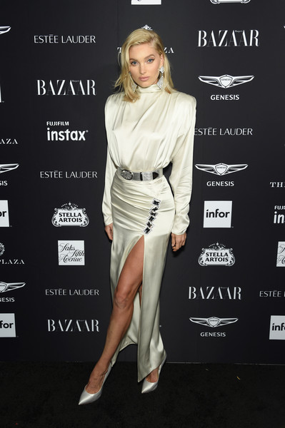 Elsa Hosk Shoulder Pad Dress [clothing,fashion model,fashion,shoulder,dress,footwear,cocktail dress,joint,leg,muscle,carine roitfeld,estee lauder,stella artois - arrivals,icons,plaza hotel,harpers bazaar celebrates,saks fifth avenue,fujifilm instax,genesis,infor]