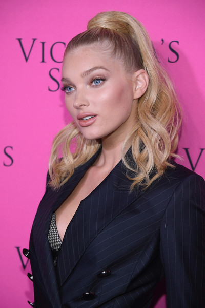 Elsa Hosk Ponytail [hair,face,blond,hairstyle,eyebrow,pink,long hair,beauty,lip,chin,elsa hosk,new york city,victorias secret,spring studios,victorias secret fashion show,victorias secret angels gather to watch,viewing party]