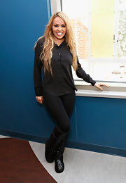 Layla El chose a basic button down for her look while visiting Saint Mary's hospital in New York.