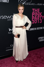 Francesca Eastwood chose a red carpet-worthy silk dress for the Pink Party.