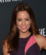Brooke Burke Charvet wore her hair down with a center part and a hint of feathered waves when she attended the Pink Party.