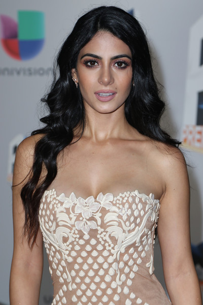 Emeraude Toubia Long Wavy Cut [hair,clothing,fashion model,hairstyle,lip,shoulder,eyebrow,beauty,long hair,black hair,arrivals,emeraude toubia,13th edition of premios juventud youth awards,miami,florida,bank united center,univision]