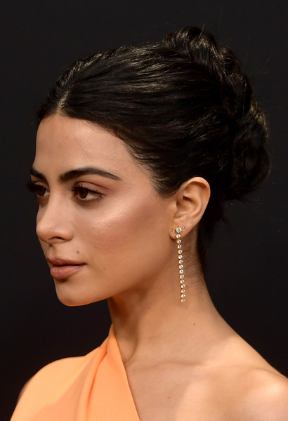 Emeraude Toubia Braided Bun [hair,hairstyle,face,chin,eyebrow,beauty,forehead,ear,neck,shoulder,peoples choice awards,barker hangar,santa monica,california,arrivals,emeraude toubia]