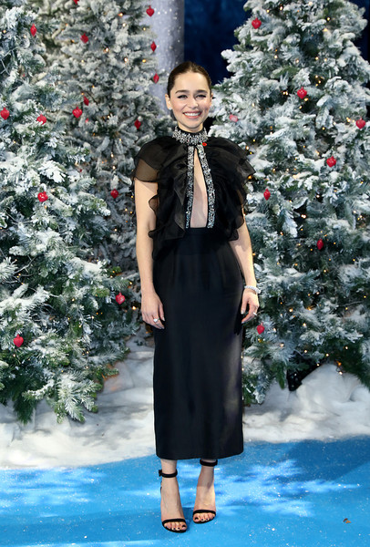 Emilia Clarke Strappy Sandals [last christmas,fashion,clothing,red,winter,dress,shoulder,haute couture,fashion model,outerwear,runway,emilia clarke,uk,bfi southbank,london,england,premiere]