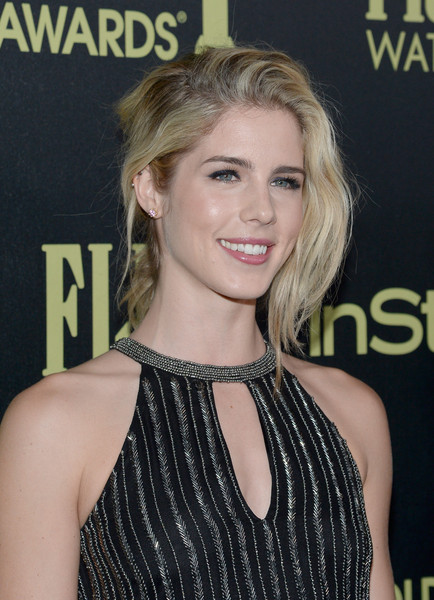 Emily Bett Rickards Messy Updo [hair,hairstyle,blond,chin,premiere,lip,long hair,brown hair,neck,dress,emily bett rickards,golden globe award,ysabel,west hollywood,california,hollywood foreign press association,instyle celebrate,instyle celebration,golden globe award season]