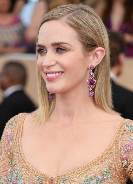 Emily Blunt Dangling Gemstone Earrings