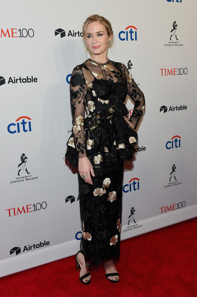 Emily Blunt Embroidered Dress [red carpet,clothing,carpet,dress,fashion,fashion model,premiere,flooring,footwear,fashion design,arrivals,emily blunt,time 100,jazz,new york city,lincoln center]