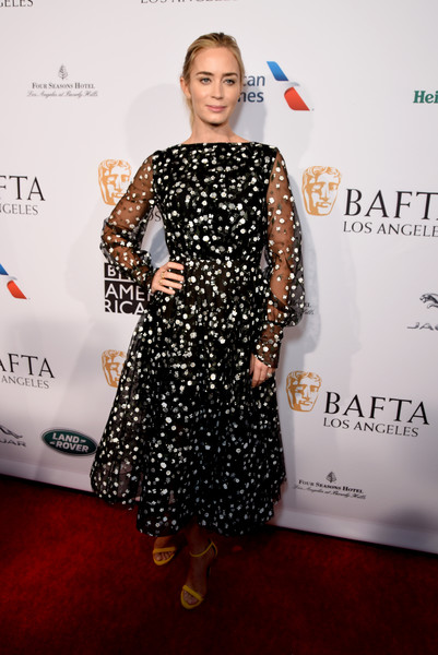 Emily Blunt Embroidered Dress [clothing,dress,red carpet,carpet,fashion,hairstyle,flooring,premiere,fashion design,footwear,emily blunt,tea party,los angeles,four seasons hotel,beverly hills,california,bbca bafta,bbca bafta tea party]