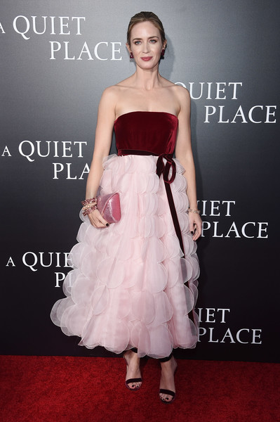 Emily Blunt Strapless Dress [a quiet place,dress,clothing,shoulder,strapless dress,gown,bridal party dress,cocktail dress,carpet,premiere,fashion model,emily blunt,new york city,amc lincoln square theater,premiere,new york premiere]